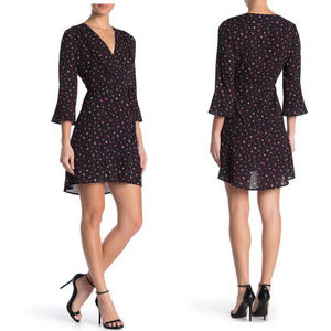 French Connection NWT Black Floral A-Line Dress